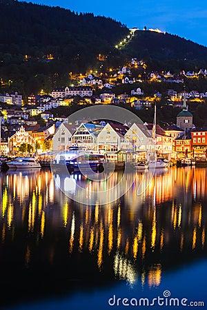 Free Bergen At Night Stock Image - 57160721
