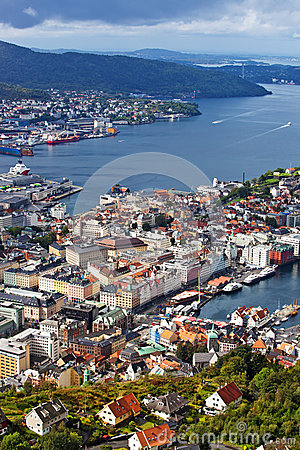 Bergen city view from hill