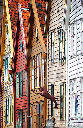 Bergen houses facades.