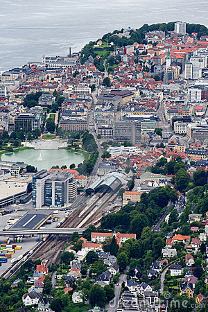 Bergen, view of the city from above