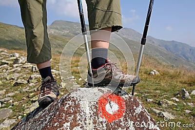 Bergsteiger steht auf dem Felsen