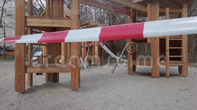 Closed Playground With Barrier Tape Due To Corona Pandemic In Berlin, Germany stock footage