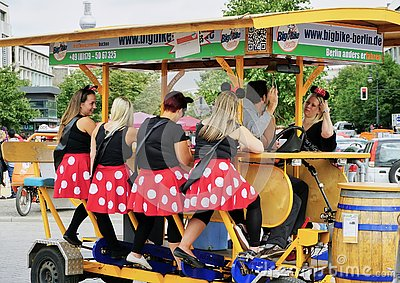 Group of Ladies party on a beer bicycle built for 8 Editorial Stock Photo