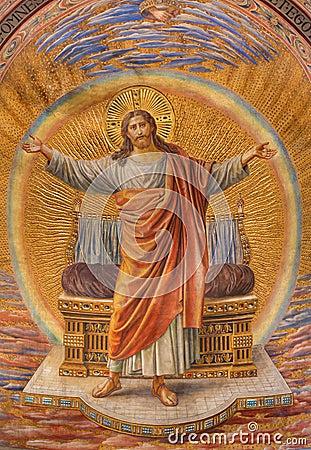 Free BERLIN, GERMANY, FEBRUARY - 14, 2017: The Fresco Of Jesus Christ In Main Apse Of Herz Jesus Church Royalty Free Stock Photo - 94125955