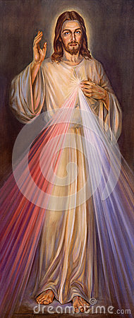 Free BERLIN, GERMANY, FEBRUARY - 15, 2017: The Painting Of Traditional Divine Mercy Of Jesus In St. John The Baptist Church Stock Image - 93965701
