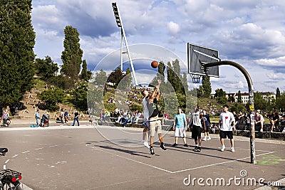 Basketball Game at Mauerpark Berlin Editorial Photo