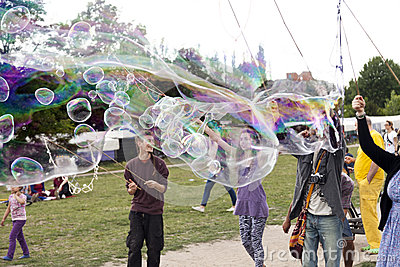 Making Soap Bubbles at Mauerpark Editorial Photo