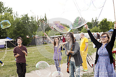 Making Soap Bubbles at Mauerpark Editorial Stock Photo