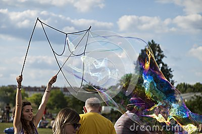 Making Soap Bubbles at Mauerpark Editorial Stock Image