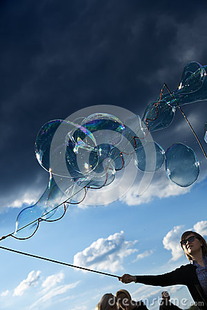 Making Soap Bubbles at Mauerpark Editorial Image