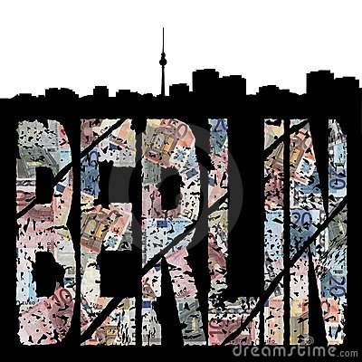 Berlin grunge text with skyline