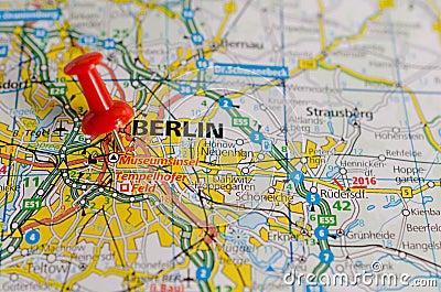 Berlin on map Stock Photo