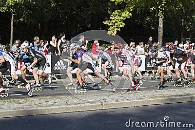 Berlin Marathon skating Editorial Stock Image