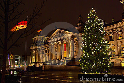 Berlin Reichstag building christmas