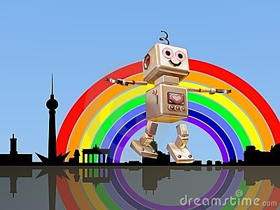 Berlin robot flying into the rainbow