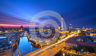 Berlin Skyline City Panorama with blue sky sunset and traffic - famous landmark in Berlin, Germany, Europe Stock Photo