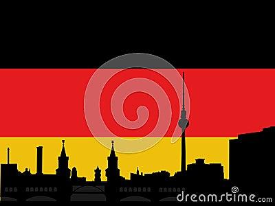 Berlin skyline with flag
