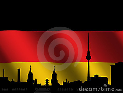 Berlin skyline with German flag