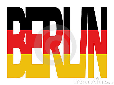 Berlin text with German flag