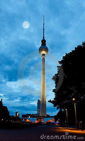 Berlin tv tower -  fernsehturm at night