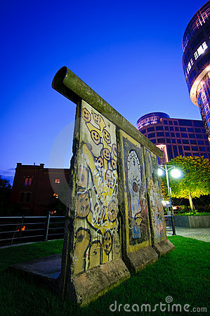 Berlin wall at night Editorial Image