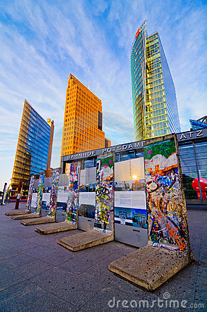 Berlin wall on potsdamer platz Editorial Image