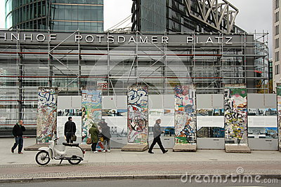 Berlin Wall on the Potsdamer Platz in Berlin Editorial Photo