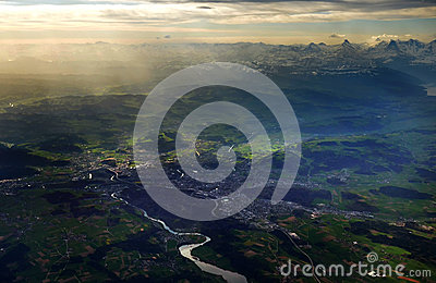 Bern and Alps aerial view