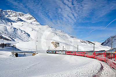 Bernina Express in winter time Editorial Stock Image