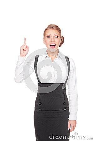 Überraschte Geschäftsfrau haben die Idee