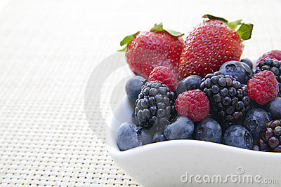 Berries in a bowl on a placemat