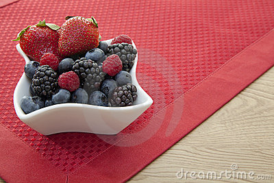 Berries in a bowl on the table