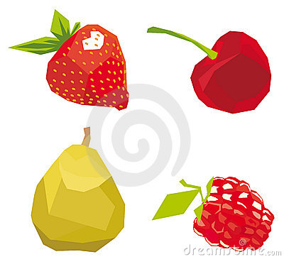 Berries the cubism drawn in style, a