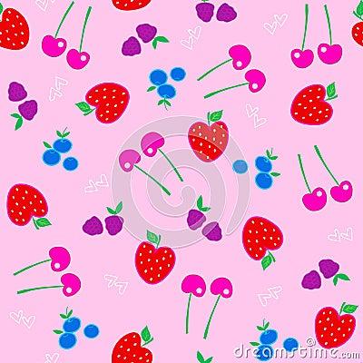 Berries Fruit Seamless Repeat Pattern Vector