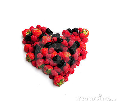 Berries in a heart shape