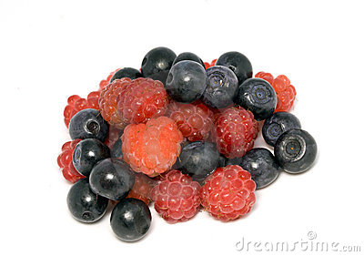Berries of raspberry and bilberry