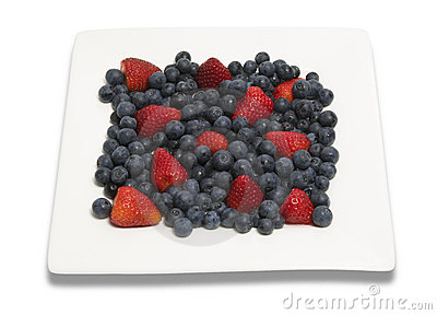 Berries on square plate