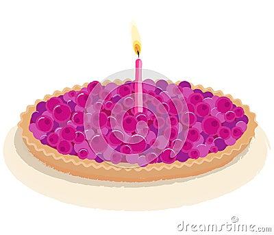 Berry birthday cake vector