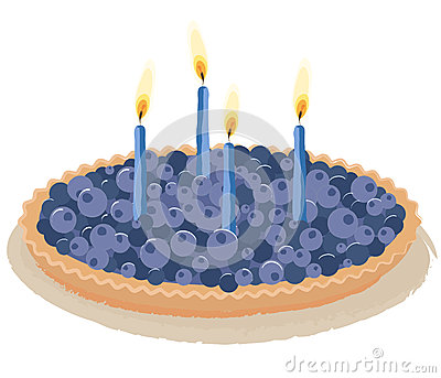 Berry birthday cake vector