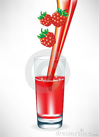 Berry juice pouring in glass