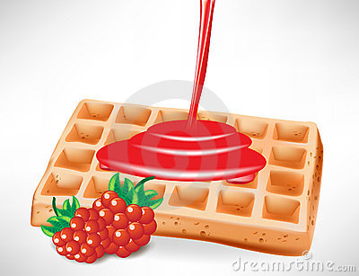 Berry syrup over belgian waffle