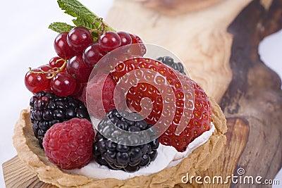 Berry Tart on Wood