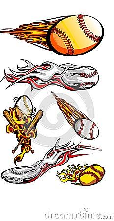 Beísboles con pelota blanda llameantes y palos de los béisboles