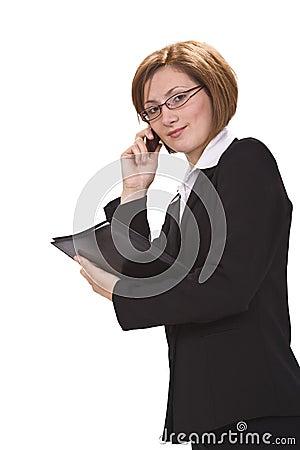 Besetzte Geschäftsfrau