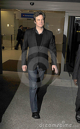 Best actor oscar winner Colin Firth at LAX airport Editorial Stock Photo
