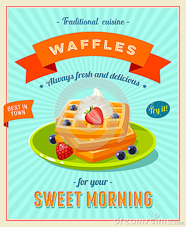 Free Best Breakfast - Vintage Restaurant Sign. Retro Styled Poster With Pile Of Waffles Stock Images - 72611074