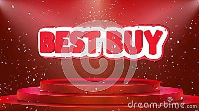 Best Buy-van het het Stadiumpodium van de Tekstanimatie de Animatie van de de Confettienlijn vector illustratie