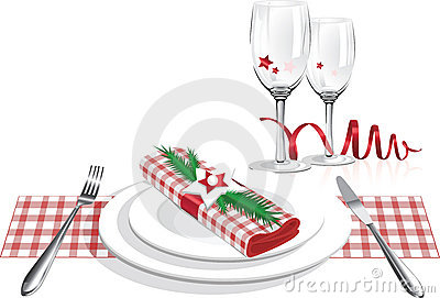 Best Christmas Dinner Plates And Glass Vector Royalty Free