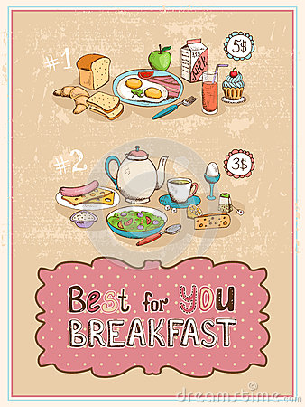 Free Best For You Breakfast Vintage Poster Design Stock Photos - 42943423