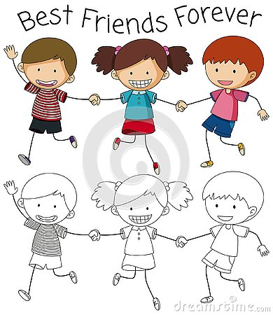 Free Best Friend Doodle Graphic Royalty Free Stock Images - 130368409